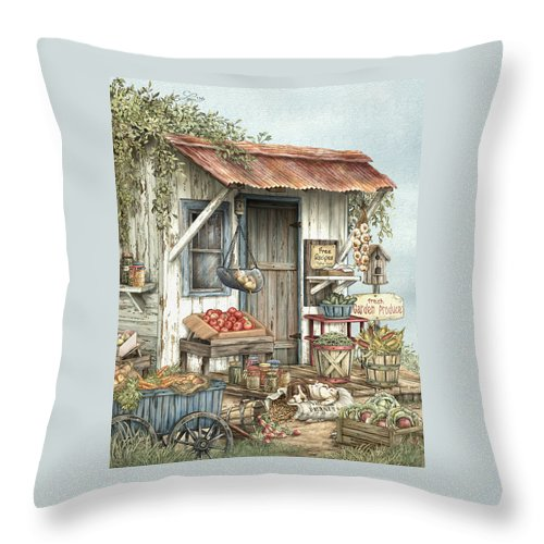 Veggies Throw Pillow featuring the painting Uncle Ralph's Veggies by Beverly Levi-Parker