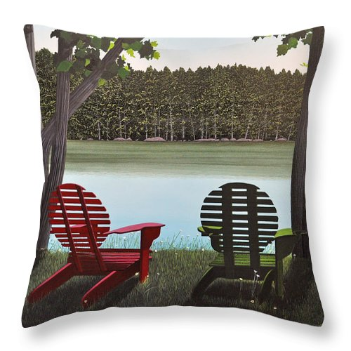 Landscapes Throw Pillow featuring the painting Under Muskoka Trees by Kenneth M Kirsch