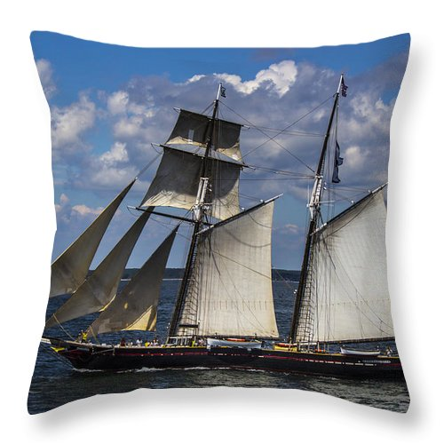 Schooner Photographs Throw Pillow featuring the photograph Under Sail by Jonathan Steele