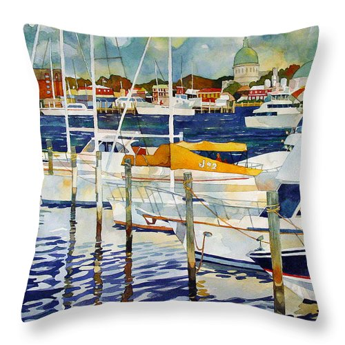 Watercolor Throw Pillow featuring the painting Under The Copper Dome by Mick Williams