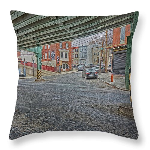 Manayunk Throw Pillow featuring the photograph Under The El Manayunk by Jack Paolini