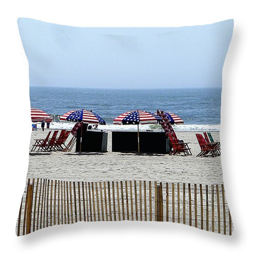 Old Glory Throw Pillow featuring the photograph Under The Flag by Richard Reeve