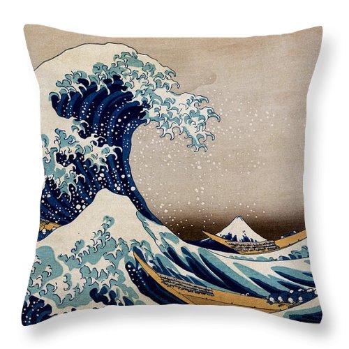 Kanagawa Throw Pillow featuring the digital art Under the Great Wave Off Kanagawa by Georgia Fowler