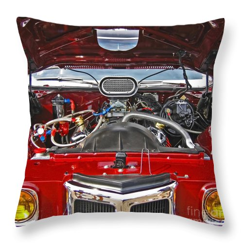 Car Throw Pillow featuring the photograph Under The Hood by Ann Horn