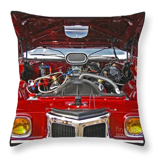 Car Throw Pillow featuring the photograph Under The Hood by Ann Horn