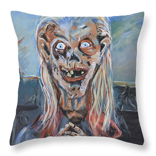 Tales From The Crypt Throw Pillow featuring the painting Under The Moonlight by Gerald Rader