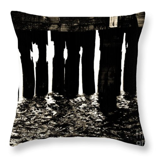 Pier Throw Pillow featuring the photograph Under The Pier by Avis Noelle