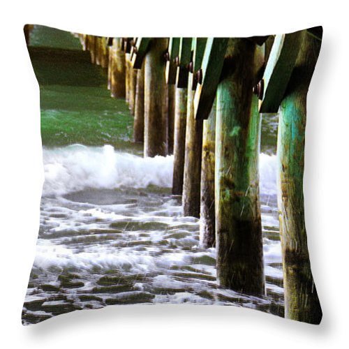 Ocean Throw Pillow featuring the photograph Under The Pier by Roger Wedegis