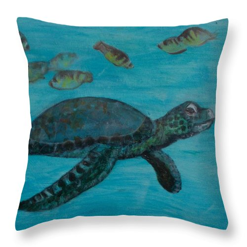 Seascapes Throw Pillow featuring the painting Under The Sea by Darla Joy Johnson