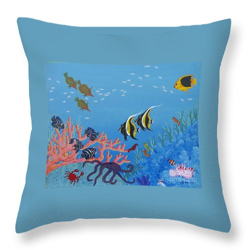 Seascape Throw Pillow featuring the painting Under The Sea by Lori Ziemba