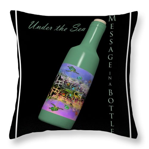 Skeletons Throw Pillow featuring the digital art Under The Sea Message In A Bottle by Betsy Knapp