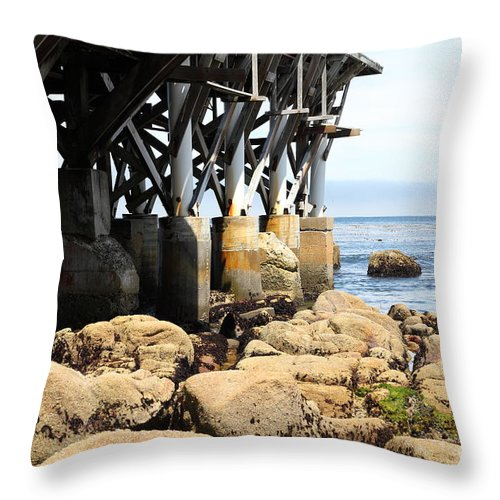 Monterey Throw Pillow featuring the photograph Under The Steinbeck Plaza Overlooking Monterey Bay On Monterey Cannery Row California 5d25050 by Wingsdomain Art and Photography