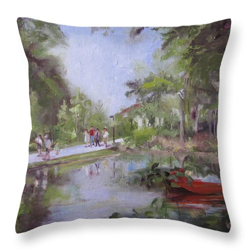 Crystal Bridges Museum Throw Pillow featuring the painting Under The Willows In The Crystal Bridges Pond by Vicki Ross