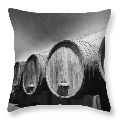 Alcohol Throw Pillow featuring the photograph Underground Wine Cellar With Wooden by Feellife