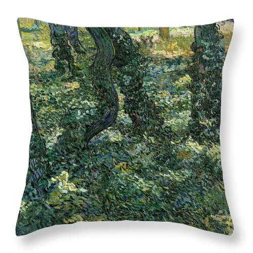 1889 Throw Pillow featuring the painting Undergrowth by Vincent van Gogh