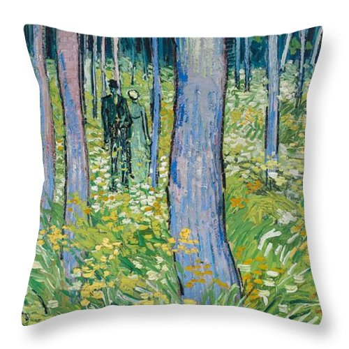1890 Throw Pillow featuring the painting Undergrowth With Two Figures by Vincent van Gogh