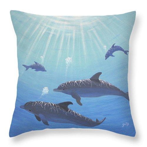 Underwater Dolphins Original Acrylic Painting Throw Pillow For Sale By Georgeta Blanaru