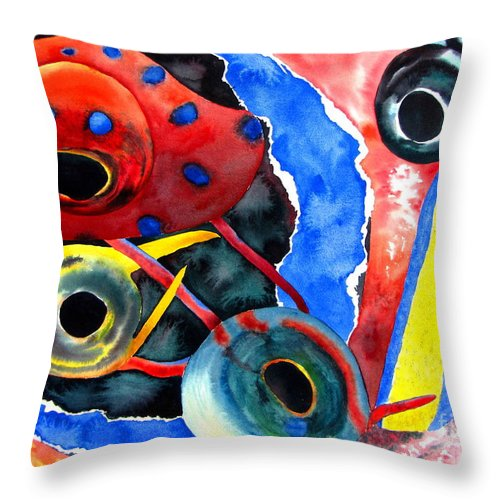 Abstract Throw Pillow featuring the painting Underwater Symphony by Pamela Iris Harden