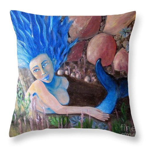 Mermaid Throw Pillow featuring the painting Underwater Wonder by Laurie Morgan