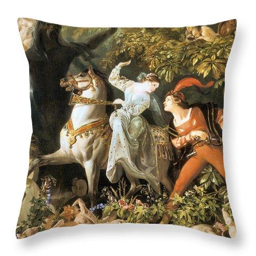 Undine And The Wood Demons Throw Pillow featuring the digital art Undine And The Wood Demons by Daniel Danie Madise