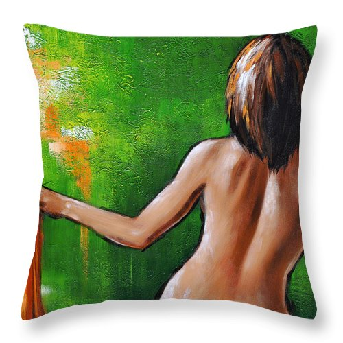 Nude Throw Pillow featuring the painting Undressed by Glenn Pollard