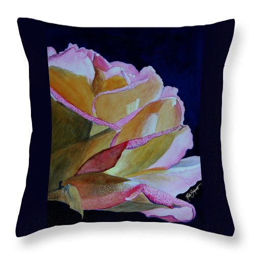 Watercolor Throw Pillow featuring the painting Unfolding Rose by Ruth Bodycott