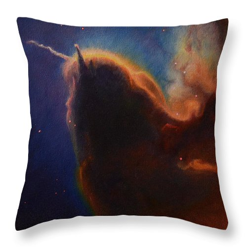 Astronomy Throw Pillow featuring the painting Unicorn Nebula by Maja Opacic