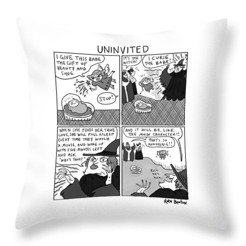 Captionless Sleeping Beauty Throw Pillow featuring the drawing Uninvited -- A 4-panel Cartoon Of A Sleeping by Kate Beaton