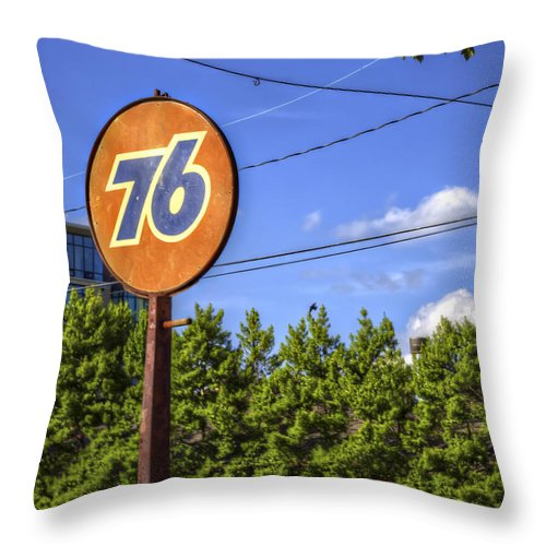 Union Throw Pillow featuring the photograph Union 76 In Asheville by Valerie Mellema