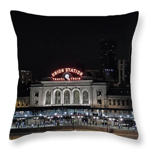 Union Station Throw Pillow featuring the photograph Union Station Denver Colorado 2 by Ken Smith