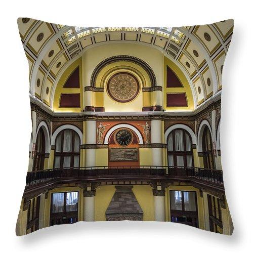 Nashville Throw Pillow featuring the photograph Union Station Lobby by Glenn DiPaola