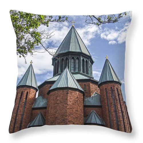 Church Throw Pillow featuring the photograph Union Towers by Eric Swan