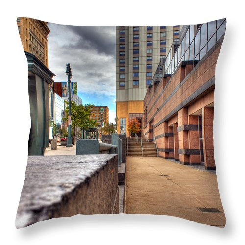 Tim Buisman Throw Pillow featuring the photograph Unique City View by Tim Buisman