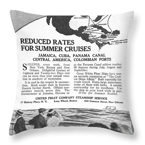 1922 Throw Pillow featuring the drawing United Fruit Company, 1922 by Granger