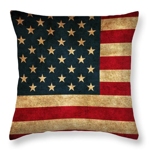 United States American Usa Flag Vintage Distressed Finish On Worn Canvas Throw Pillow featuring the mixed media United States American USA Flag Vintage Distressed Finish on Worn Canvas by Design Turnpike