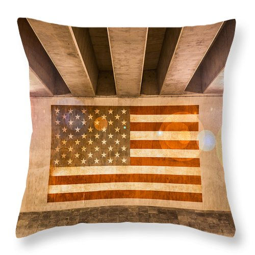 American Flag Throw Pillow featuring the photograph United States Flag by Semmick Photo