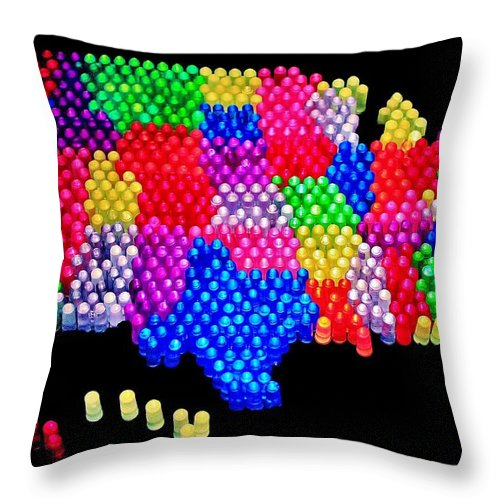 United States Throw Pillow featuring the photograph United States Of Lite Brite by Benjamin Yeager