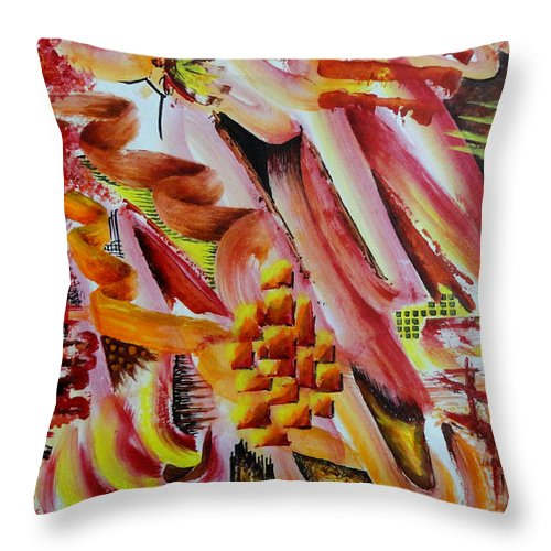 Colorful Throw Pillow featuring the painting Unitled-37 by Tamal Sen Sharma