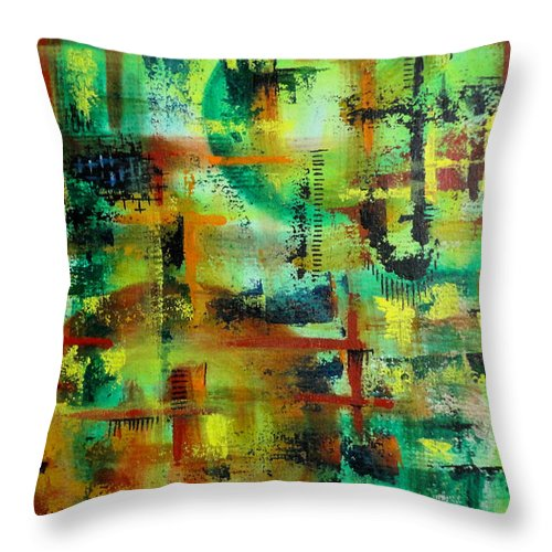 Colorful Throw Pillow featuring the painting Unitled-41 by Tamal Sen Sharma