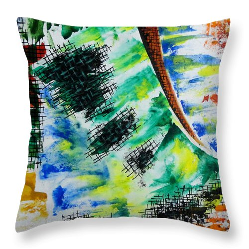 Colorful Throw Pillow featuring the painting Unitled-42 by Tamal Sen Sharma
