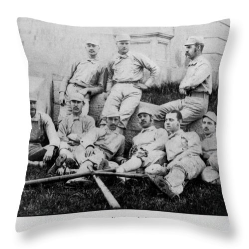University Of Michigan Throw Pillow featuring the photograph University Of Michigan Baseball Team by Georgia Fowler