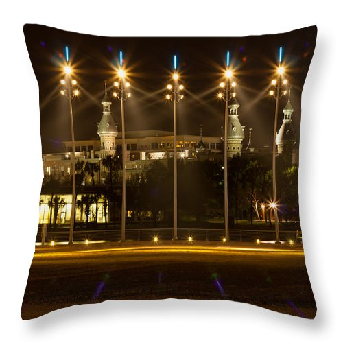 Architecture Throw Pillow featuring the photograph University Of Tampa At Night by John M Bailey