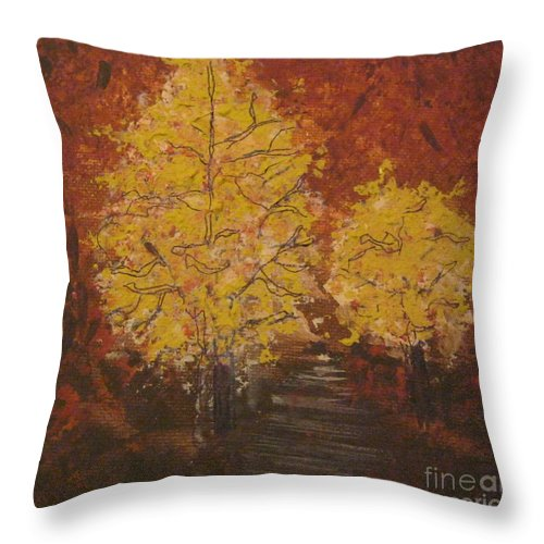 Trees Throw Pillow featuring the painting Unlikely Companions by Jacqui Hawk