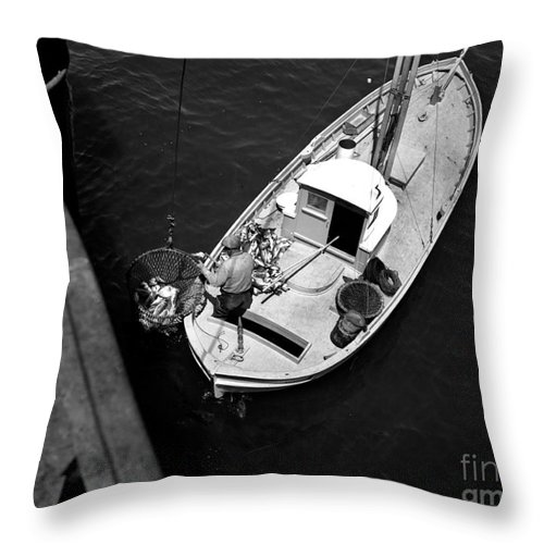 Unloading Throw Pillow featuring the photograph Unloading Fish At Wharf Two Monterey Circa 1950 by California Views Archives Mr Pat Hathaway Archives
