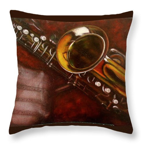 Still Life Throw Pillow featuring the painting Unprotected Sax by Sean Connolly