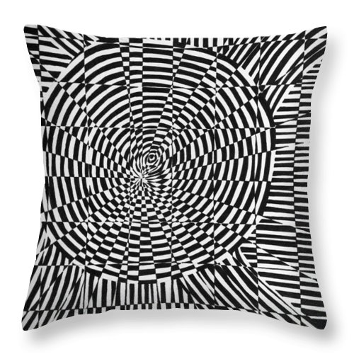 Abstract Throw Pillow featuring the drawing Unraveled by Crystal Hubbard