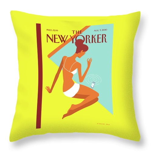 Pool Throw Pillow featuring the painting New Yorker August 9th, 2010 by Christoph Niemann