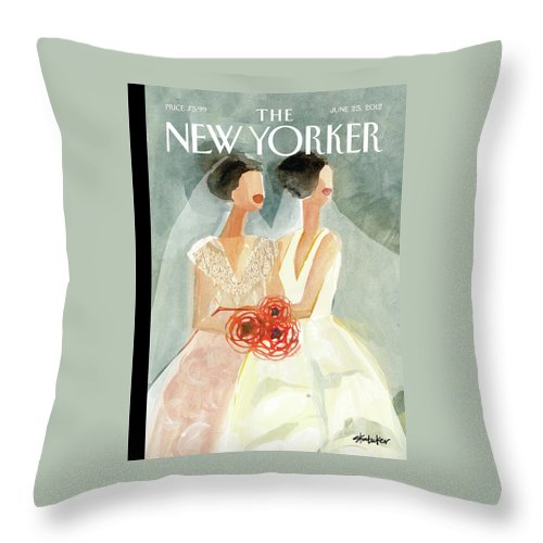 June Brides Throw Pillow featuring the painting June Brides by Gayle Kabaker