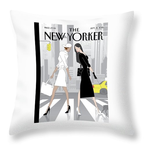 Crosswalk Throw Pillow featuring the painting Crosswalk by Greg Foley