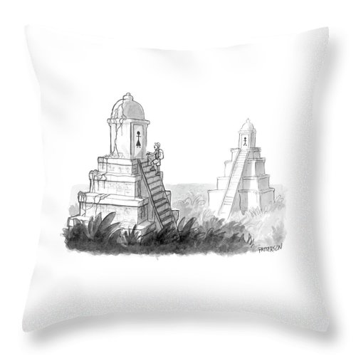 (explorer Discovers Gender Labeled Ancient Pyramid Restrooms.) 122203 Jpt Jason Patterson Throw Pillow featuring the drawing New Yorker April 24th, 2006 by Jason Patterson